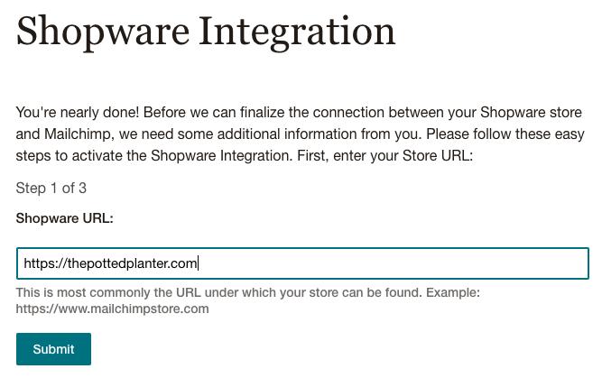 Enter Shopware Store URL - Mailchimp for Shopware