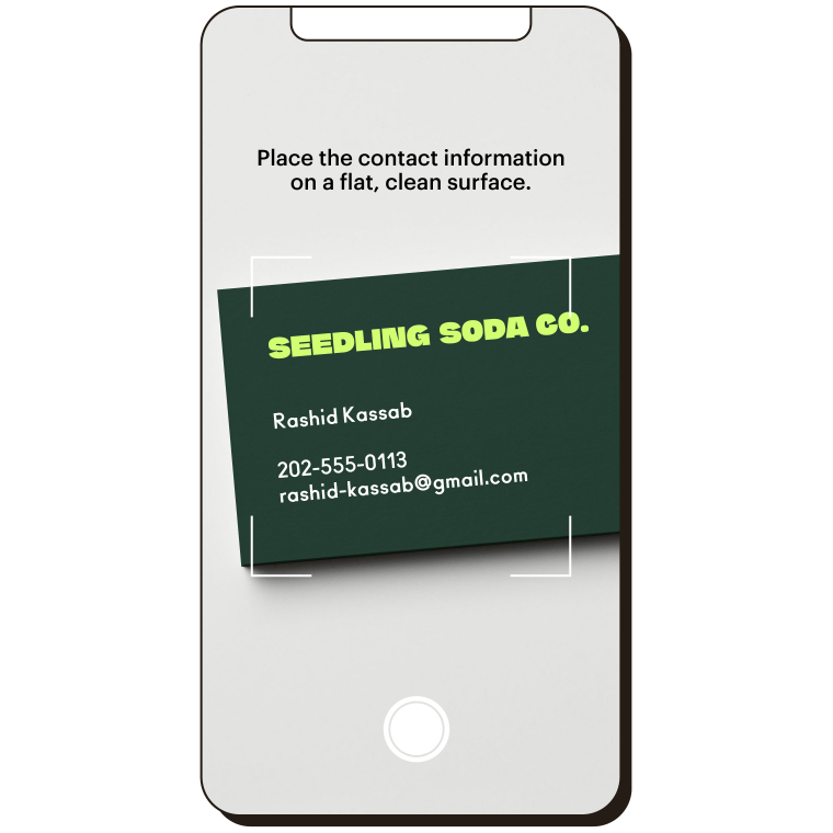 Scanning business card from the Mailchimp mobile app.