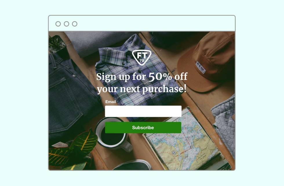 """An example landing page with a subscribe form and the text, """"Sign up for 50% off your next purchase!""""."""