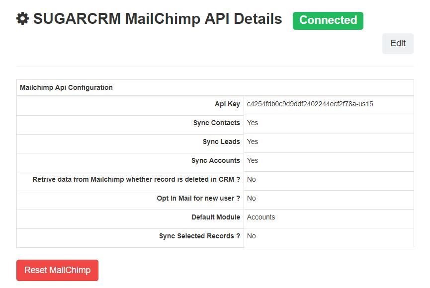 Image of SugarCRM Mailchimp API Details