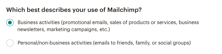 Mailchimp use buttons - Account settings