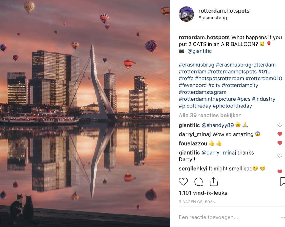 Screenshot of Instagram post. Photo is of Amsterdam bay at sunset with hot air balloons in the sky.