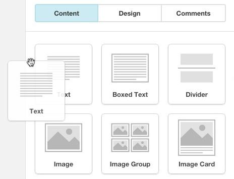 Haz clic y arrastra el bloque de contenido Texto hasta el diseño