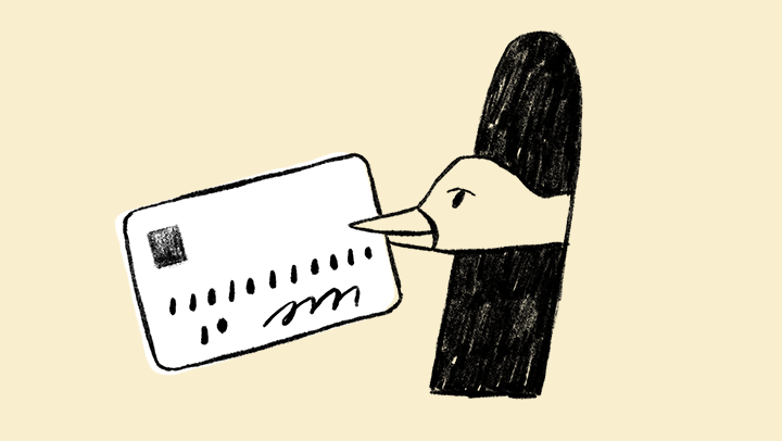 Illustration of a duck holding a credit card