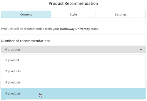 Cursor clicks and chooses number of recommendations.