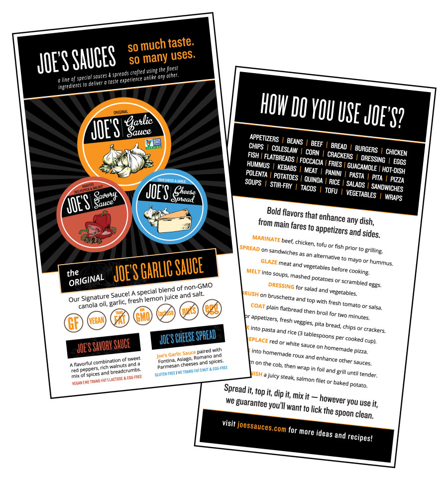 A handout for Joe's Sauces. Image displays the back and front of handout. On the left, graphic shows logo and three different products highlighted as different colored circles. Includes dietary information showing products are non-GMO and gluten free. Back of handout shows lists how you can use product.