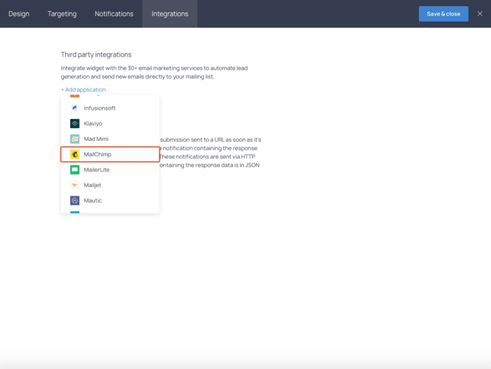 Image of connecting to Mailchimp option