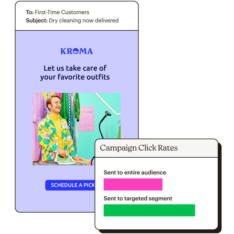 Email with campaign click rates showing targeted segment has a higher open rate.