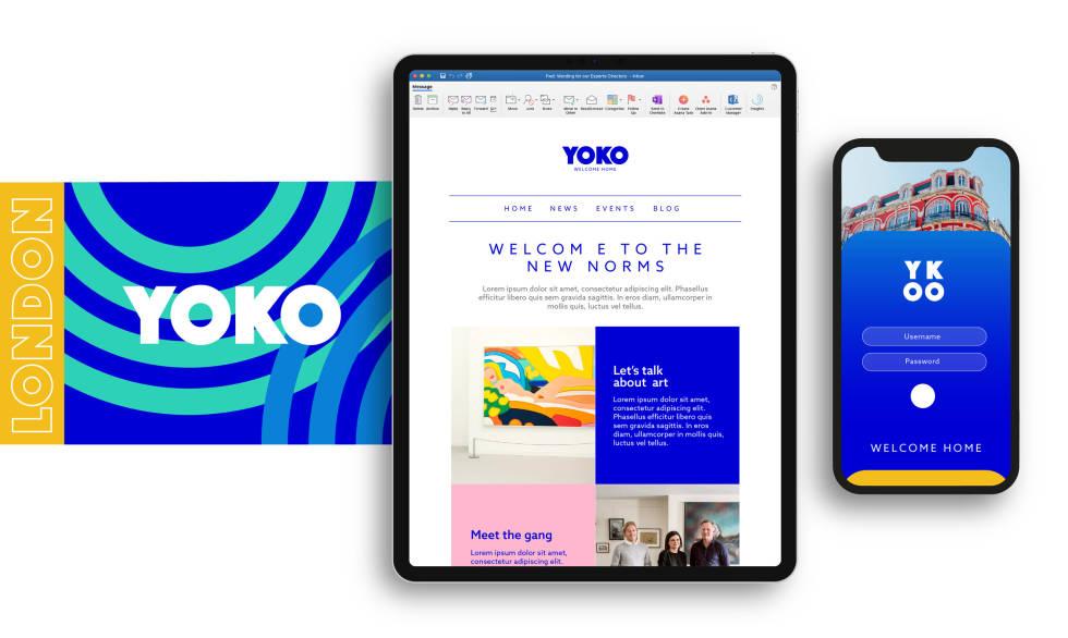 Image of an ipad and mobile screen on Yoko