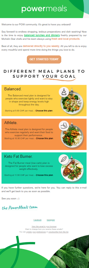 Image of a newsletter with images of food for different diets