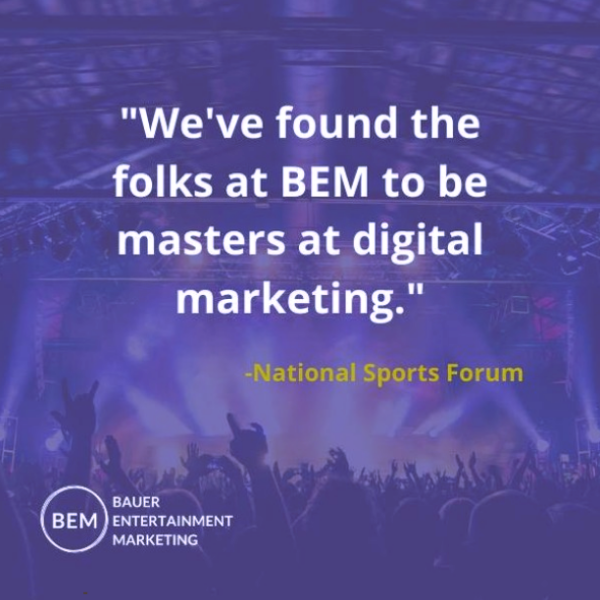 "Image of a concert with text ""We've found the folks at BEM to be masters at digital marketing."""