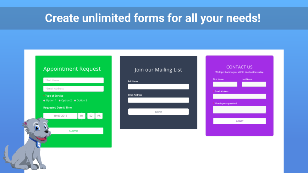 Image of specific custom forms with the text create unlimited forms for all your needs!