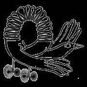 Doodle of bird slinky toy on wheels.