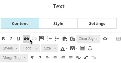 Screen of toolbar in a Text content block, with cursor clicking the Link icon.