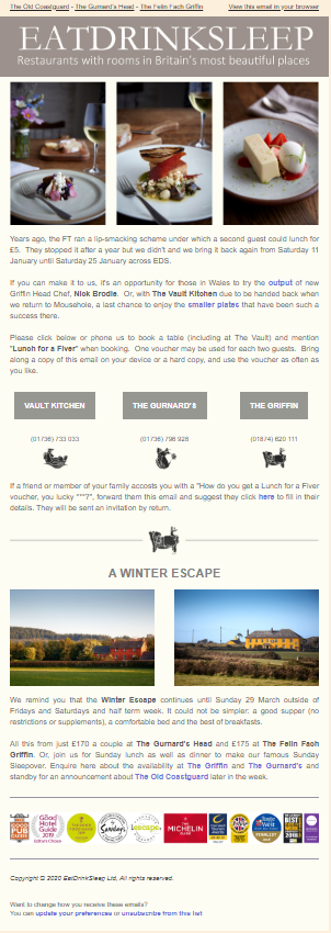 "Image of a newsletter with text ""Eat Drink Sleep"""