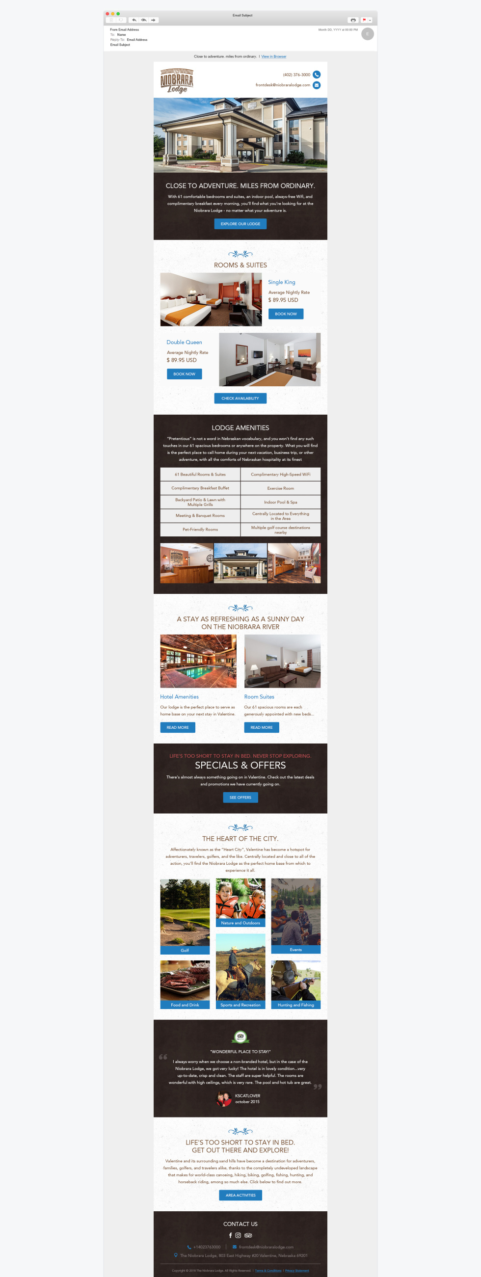 Screenshot of template created by EmailMonks