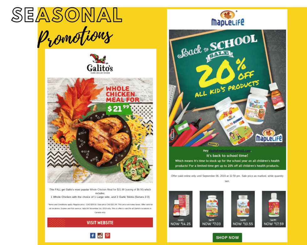 "Image of food and a back to school sale with text ""Seasonal promotions"""