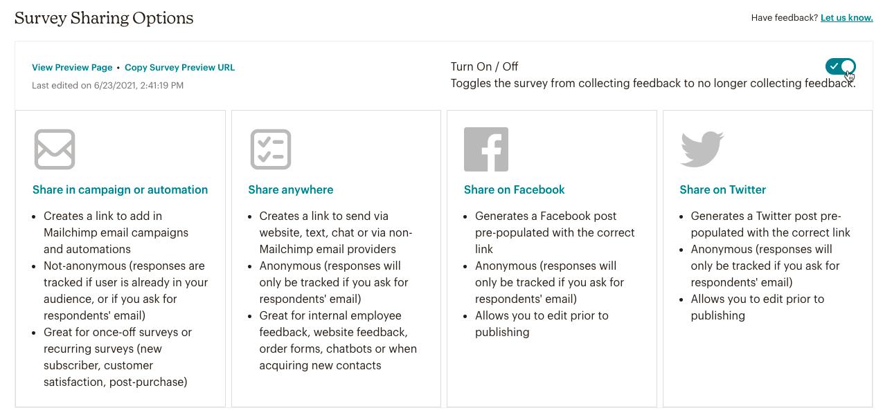 Survey-sharing-options