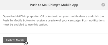 Pop-up modal to confirm push to mobile with cursor on button.
