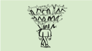 Illustration of a person walking with many people standing on their shoulders