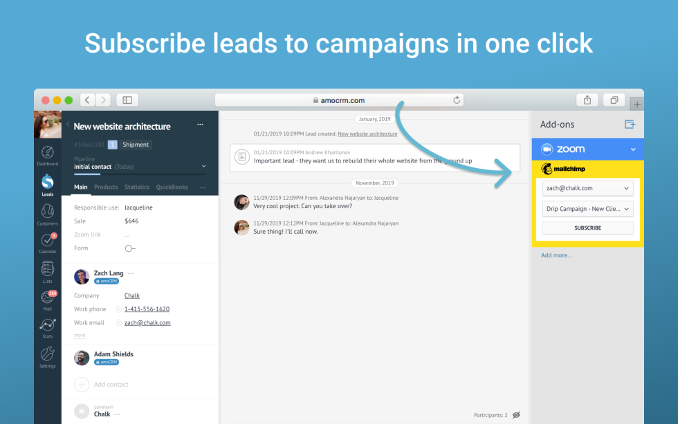 Image subscribing lead options in campaigns with the text Subscribe leads to campaigns in one click.