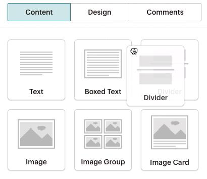 Cliquer et faire glisser Divider (Séparateur) dans la mise en page