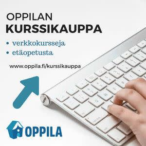 Image of left side of Apple keyboard with hand on it. Only three fingers visible of the hand. Oppila Oy logo in bottom left corner and arrow pointing to several lines of text and URL above the keyboard in top left corner.