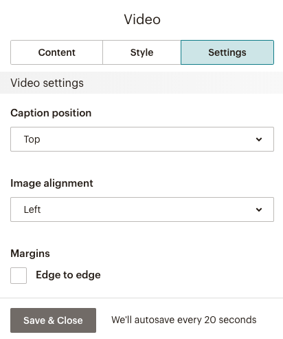 Screen of the settings, like Caption Position and Image Alignment.