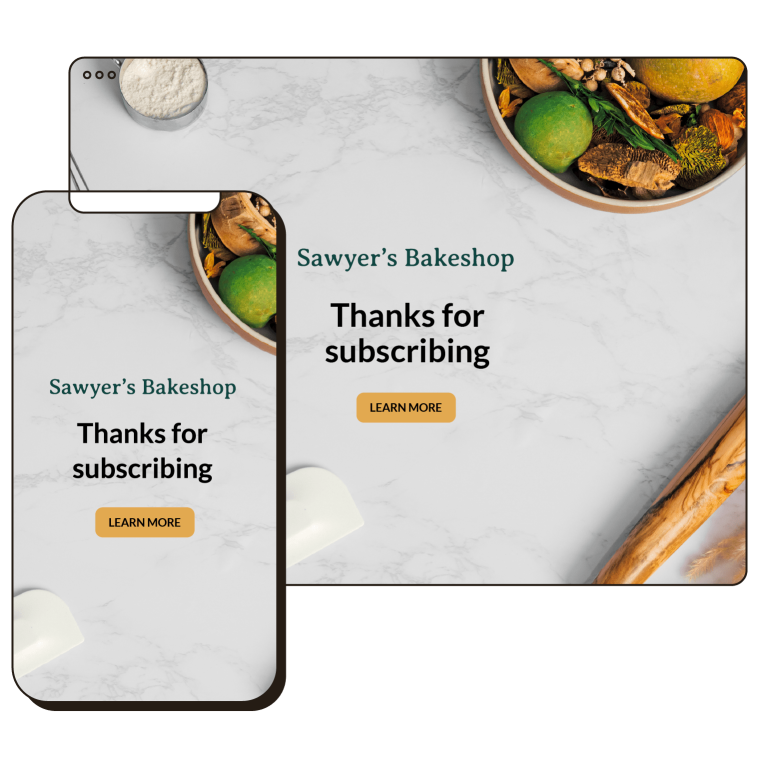 Landing Page Templates Example Abstract UI Sawyer's Bakeshop