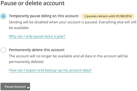pause billing radio buttons in Account settings