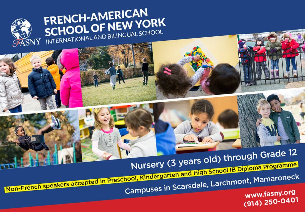 """Image of a school with children with text """"French-American School of New York International and Bilingual school"""""""
