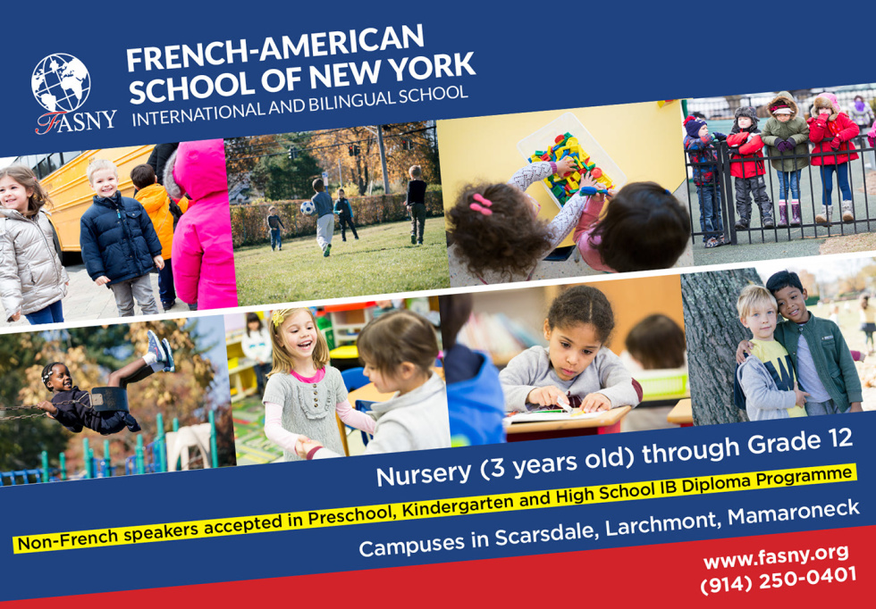 "Image of a school with children with text ""French-American School of New York International and Bilingual school"""