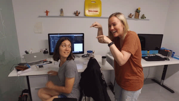 Meg pointing to a Mailchimp developer