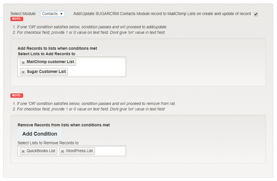 Image of module selection in SugarCRM