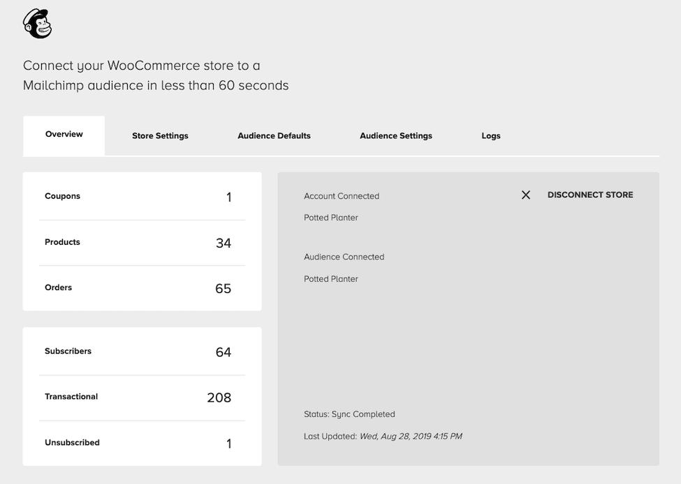 Visão geral do Mailchimp para WooCommerce