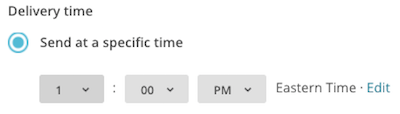 click drop-down menus to choose send time