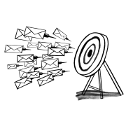 A bunch of letters flying towards a target