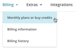 Cursor hovers over Monthly plans or buy credits option from the Billing drop-down menu.