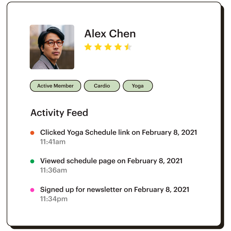 View of user profile with tags and activity feed.