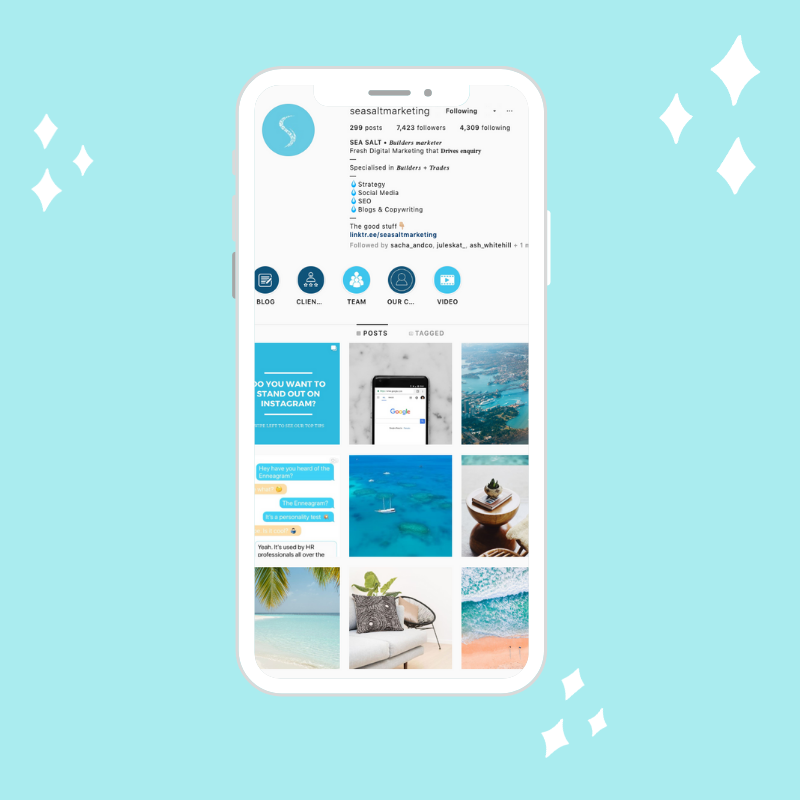 iPhone display of Sea Salt Marketing Instagram account. Blue and white color palate.