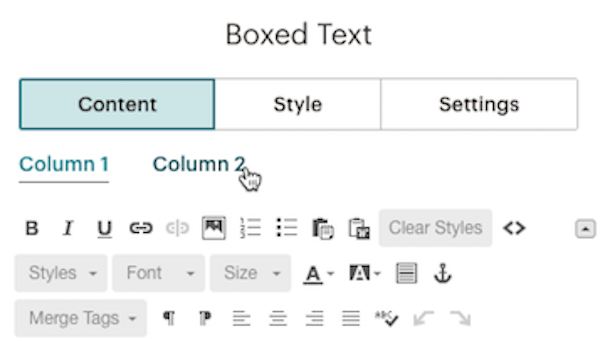 Toggle between Column 1 and Column 2 in Boxed Text block