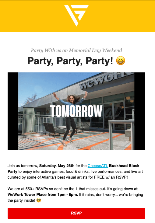 Email template for event. Includes catch CTA, logo, image header, RSVP and contact information. Color scheme is yellow, white, and red with black text.
