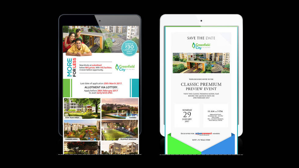 Image of Greenfield City ad on tablets