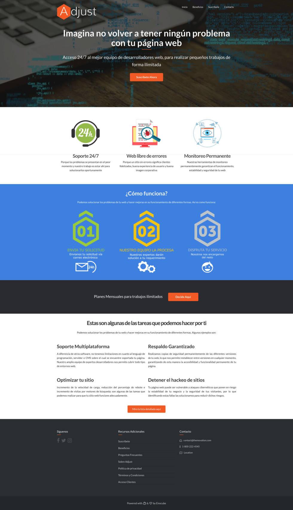Screenshot of custom website design