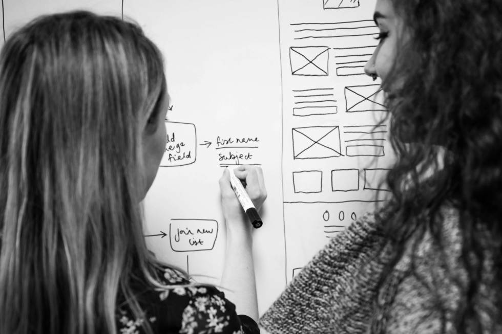 Photograph of Cobb Digital employees writing on a white board