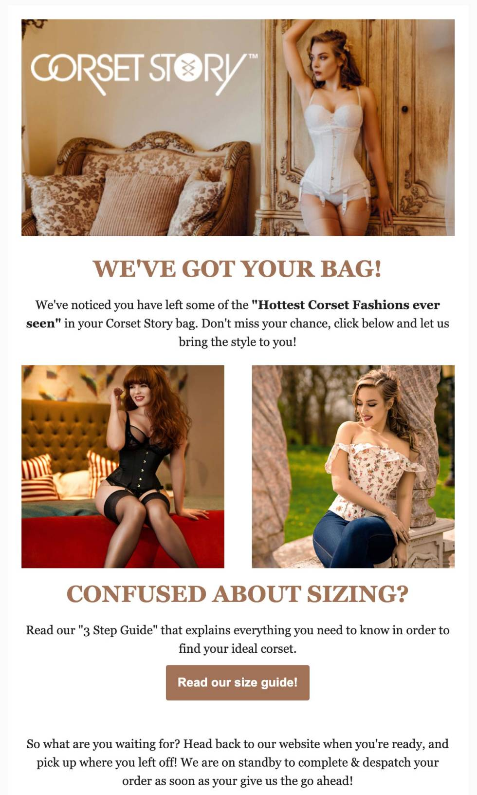 Image of newsletter with the text Corset story we've got your bag