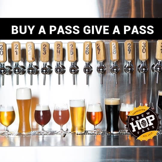 Image of beer taps with the text Buy a pass give a pass