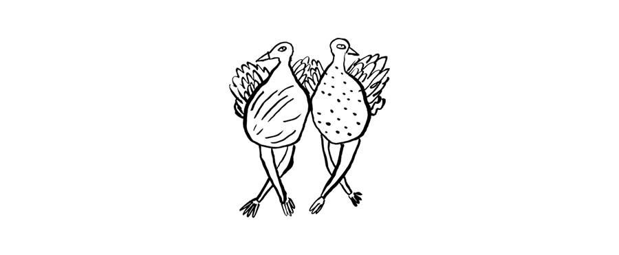 A drawing of two turkeys who appear to be doing a line dance.