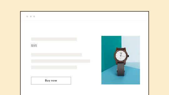 Example of a product page with a watch for sale