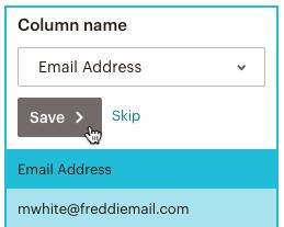 importation-correspondance colonnes-e-mail